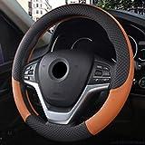 FJYDHR Custodia in pelle volante Copri volanti universali Car Styling Coperchi sportivi Volante per auto antiscivolo, Marrone, M