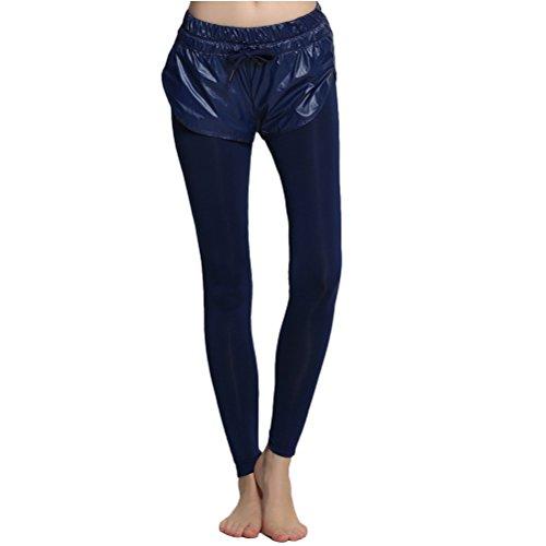 Zhhlinyuan Women's Des sports Quick dry Leggings Workout Running Pants Yoga Pants LWQ-0166 Dark Blue