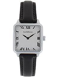 Reloj hombre JEAN Bellecour y pulsera de cuarzo esfera color blanco 28 * 28 mm negro piel jb1102