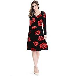 Las mujeres Floral Impreso Vestido Vintage Dress Vestido de fiesta Swing vestido
