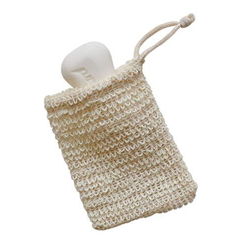 Egurs 2 Stück Seifennetz Seifensäckchen Seifenbeutel Natur Bio Sisal Seifensack mit Kordel