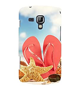 RED SLIPPERS ON A BEACH DEPICTING A HOLIDAY 3D Hard Polycarbonate Designer Back Case Cover for Samsung Galaxy S Duos 2 S7582