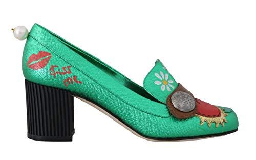 Dolce & Gabbana - Damen Schuhe - Pumps Green Leather Heart Moccasins Pumps- EU 39 Dolce & Gabbana Print-heels