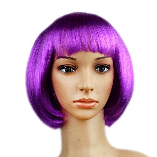 Urparcel Cheveux court Lisse Perruque court Cosplay Bob Perruque Naturel Pour Femme pour Toussaint Violet