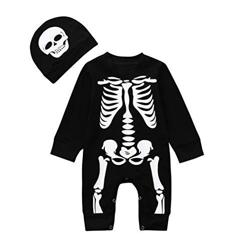 Mingfa Baby Jungen Mädchen 2018 Halloween Kleidung Outfits 2-teilig Kleinkind Langarm Knochenprint Strampler Overall + Mütze für 6-24 Monate, Kinder, Schwarz, (24M) UK (Uk Halloween-outfits Für Kleinkinder)