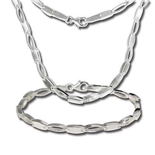 SilberDream Collier & Armband matt oval Silber Schmuck Set für Damen SDS403