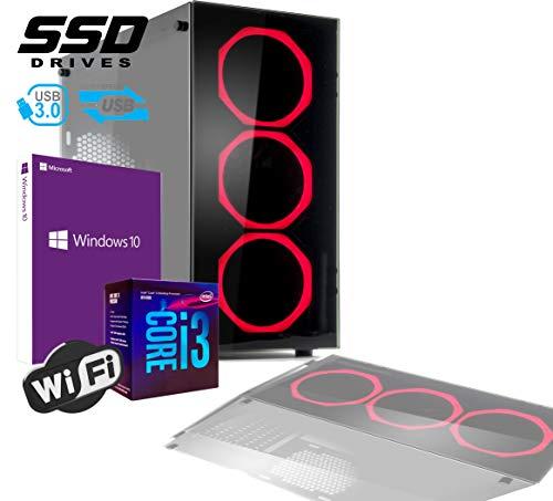 PC DESKTOP GAMING INTEL QUAD CORE I3-8100 UP TO 3,6 GHZ/CASE IN VETRO MYKA CRISTAL RUBIN CON 3 VENTOLE HALO ROSSO/MB HDMI VGA DVI/RAM 16Gb DDR4/SSD 480GB /WIFI 300MB/WINDOWS 10 PRO