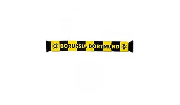 140x17 cm Schwarz//Gelb Borussia Dortmund BVB Fanschal Borussia mit zentralem Schriftzug 2 BVB Embleme schwarzgelb Polyacryl