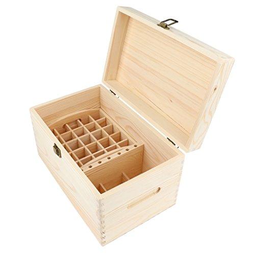Baoblaze Hölzern 56 Löcher Aromatherapie Aufbewahrungsbox Ätherisches Öl Tasche Nagellack Kulturbeutel Kulturtasche