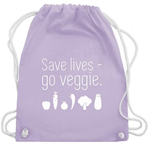 Up to Date Kind - Save lives - go veggie - Unisize - Pastell Lila - WM110 - Turnbeutel & Gym Bag