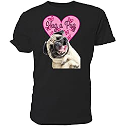 Camiseta de manga corta color negro diseño pug sonriente