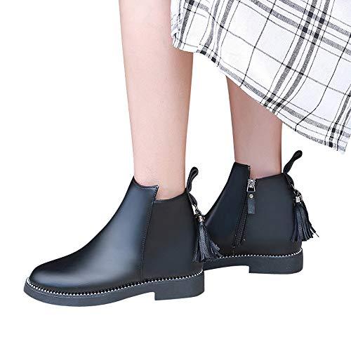 MYMYG Frauen Chelsea Boots Round Toe Schuhe Quaste Booties Reißverschluss Leder Einfarbig Stiefel Solide Quaste PU Leder Stiefel Retro Kurz Herbst Winter Stiefel
