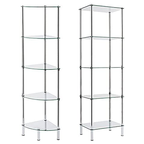 casa pura Glass Shelving Unit, Gina - 5 Tier, 40x30x134cm   2 Sizes Available - for Bathroom, Kitchen, Home and