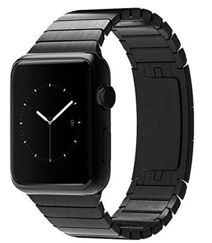 Apple Watch Armband,Sanday 42mm Edelstahl Replacement Wrist Band mit Metallschließe Strap Uhrenarmband für Apple Watch Series 3/Series 2 /Series 1 Armband 42MM Schwarz