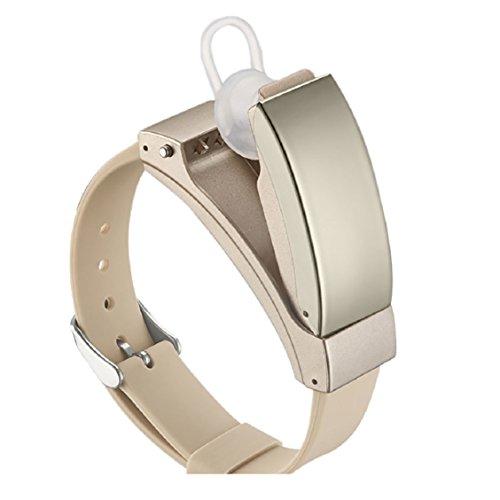 Multifunktions-Bluetooth-Armband mit Kopfhörer, wasserdicht, Smart-Watch von Mamum mit integriertem Messgerät für Blut-Sauerstoff, Blutdruck, Herzfrequenz und Schrittzähler Einheitsgröße gold