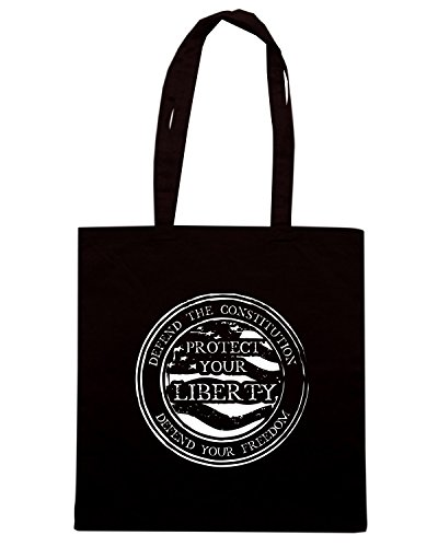 T-Shirtshock - Borsa Shopping TM0638 defend the constitution defend your freedom Nero