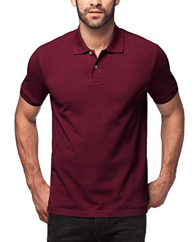 LAPASA Herren Poloshirt, Polo T-Shirt - M019, L, Weinrot