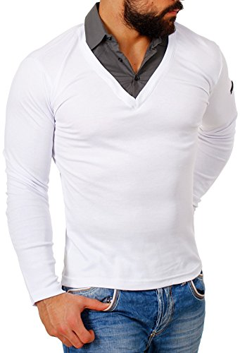 Großer Mann-shirt (ReRock Herren 2in1 Longsleeve Hemd Kragen Shirt Pullover Langarm mit Tiefem V-Ausschnitt Einfarbig Slimfit Stretch, Grösse:M;Farbe:Weiß)