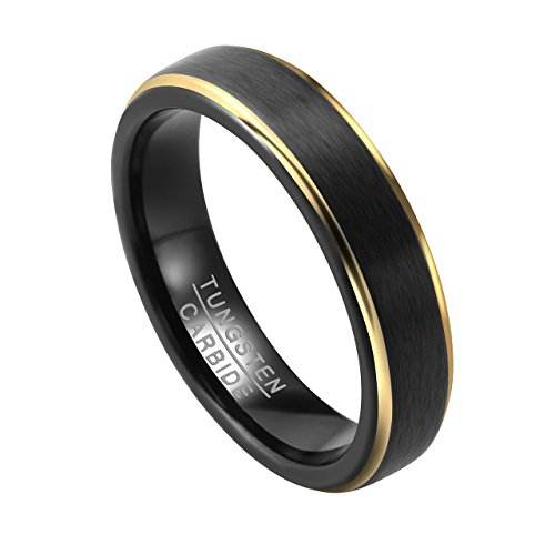 PiercingJ Herren Damen Wolframcarbid Wolfram Ring Tungsten Ring Ehering Hochzeitsring Wedding Band Ring 5mm, schwarz, Gr.55-67(US10 = 63 (20.1mm))