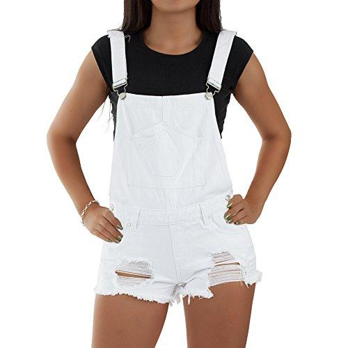 extravagante Damen Jeans Latzhose Kurz Bermuda, Größe:40, Farbe:Weiß