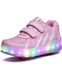 Yundac LED Zapatillas con Una/Dos Ruedas Deporte Patín Ruedas Intermitente Zapatos para Niño Adulto