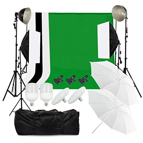 OUBO Hintergrundsystem Profi Fotostudio Greenscreen Fotoschirm Set Led Dauerlicht Softbox Studioleuchte Studiosets 4X Hintergrundstoff 2 x 3m Fotoleinwand Tragtasche (Fotografie Ausrüstung)