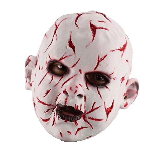 Horror-Weiß-Blut Gesicht Ghost Doll Halloween April Fool Es Day Lustige Bar Cos Mit Maske Haube