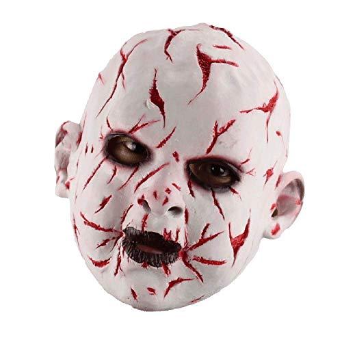 Horror-Weiß-Blut Gesicht Ghost Doll Halloween April Fool Es Day Lustige Bar Cos Mit Maske Haube (Halloween Doll-gesicht Scary)