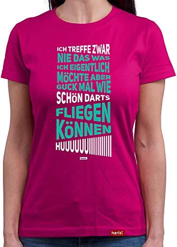 HARIZ  Damen T-Shirt Rundhals Huiiiiiiiiiii Dart Darten Dartscheibe Weltmeisterschaft Plus Geschenkkarte Pink XL
