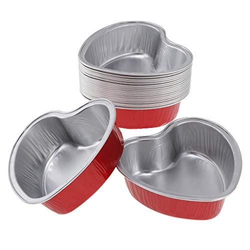 Fenteer 20 pezzi scatole per alimenti rapidi da scatole usa e getta in alluminio per trasportare caramelle - rosso