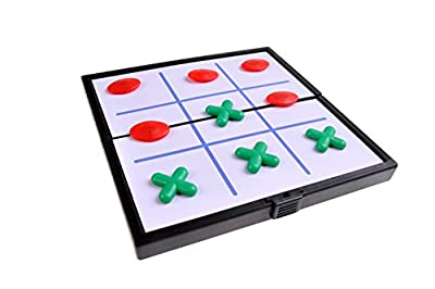 Jeu de société magnétique (version super mini de voyage): Tic-tac-toe - pions magnétiques, tablier pliant, 12,8cm x 12,8cm x 1cm, Mod. SC3660 (DE)