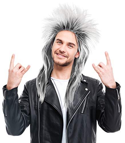 Balinco Rockige Perücke Schwarz / Weiß Damen Herren Karneval 80er Wave Punk Popstar Rocker Grau Schwarz-Weiß-Mix Toupiert