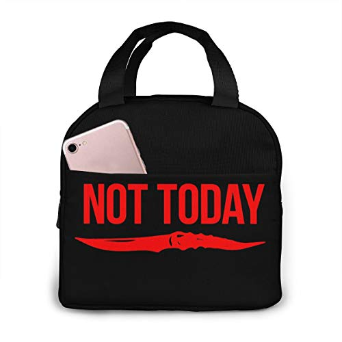 Not Today Quote With Knife Reusable Insulated Lunch Bag Cooler Tote Box With Front Pocket Zipper Closure For Work Travel School