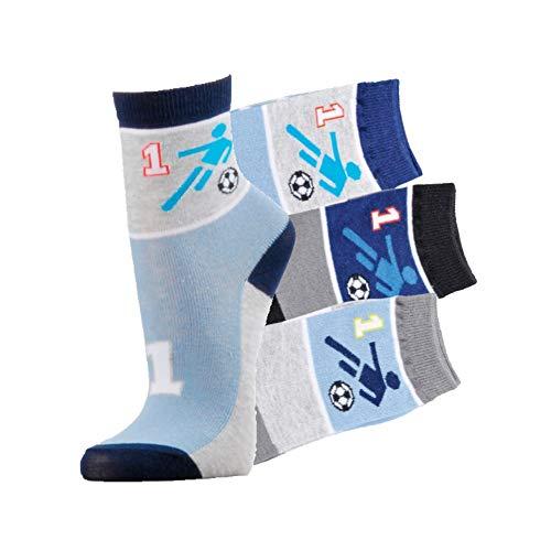 Kinder Socken Kids handgekettelt Spitze ohne Naht 6 Paar für Mädchen oder Jungen weiche Baumwolle bunter Mix (Football, 39-42)