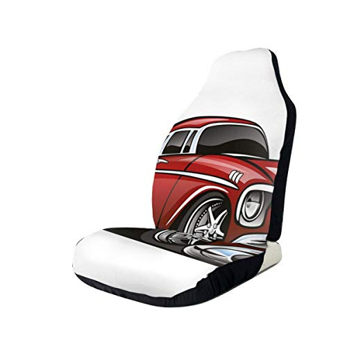 ZZHOO Seat Covers Vehicle Protector Car Mat, Classic Vintage American Muscle Car Fancy Old Fashion Famous Icon Graphic Print,Fit Most Cars, Sedan, Truck, SUV,1pcs