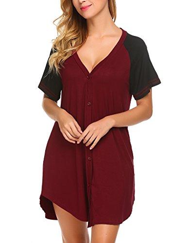 Pyjama Damen Nachthemd Schwangere Schlafanzug Jersey Nachtwäsche Knopfleiste Tunika Lässig Oberteile Einteiliger Rot XXL