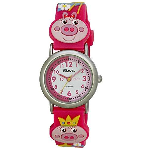 Ravel Piggy Uhr mit Zeitlernhilfe, 3D-Motiv, Quarz-Uhr mit weißem Zifferblatt, Analog-Anzeige und Kunststoff-Band, mehrfarbig, R151363