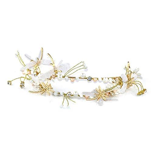 KERVINFENDRIYUN YY4 Doppel Schmetterling Kopf Schnalle Seidengarn Bogen Haarbänder Braut Hochzeit Brautschmuck Zubehör Kopfschmuck Verzierungen (Farbe : Golden)