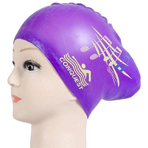 Glield Badekappe Classic Silicone Lange Haare für Frauen oder Mädchen YM01 (purple music)