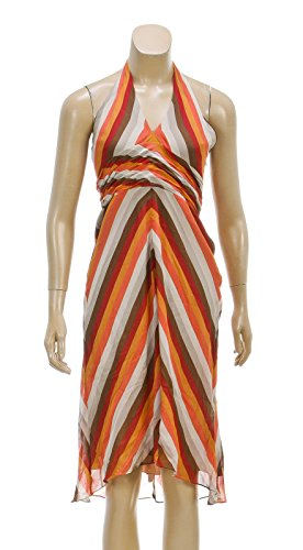 bcbg-max-azria-orange-multicolor-stripe-halter-dress-size-6
