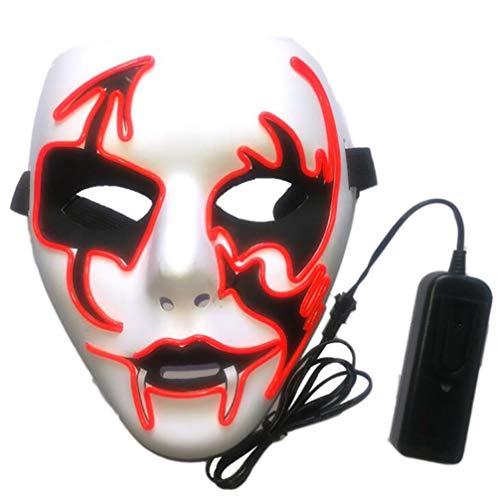 Alger Halloween Glühende Maske Prom Party PVC Horror Kaltlicht Maske Make-Up Masken Prom 20 * 18 cm