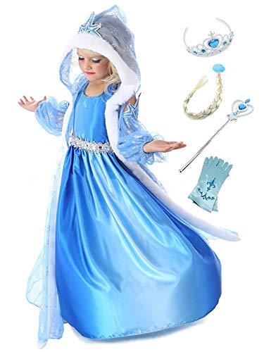 Monissy ELSA Kostüm für Kinder Mädchen Prinzessin Kostüm Eiskönigin Eisprinzessin Kleid Karneval Verkleidung Cosplay Party Geburtstag 3 Teil Umhang Arm Ärmel Schneeflocken Blau Lang (Armee-kleid Kinder Für)