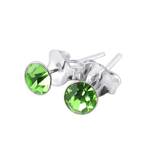 4MM Round Set Peridot Crystal AUGUST Birthstone 925 Sterling Silver Stud Earrings