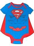 DC Comics Superman Baby Jungen Body mit Cape Set und Muskeln, Blau 24 Monate
