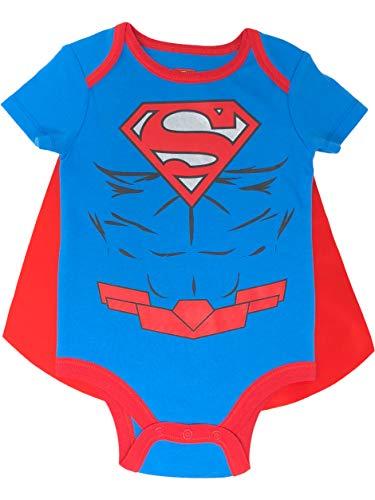 DC Comics Superman Baby Jungen Body mit Cape Set und Muskeln, Blau 0-3 Monate