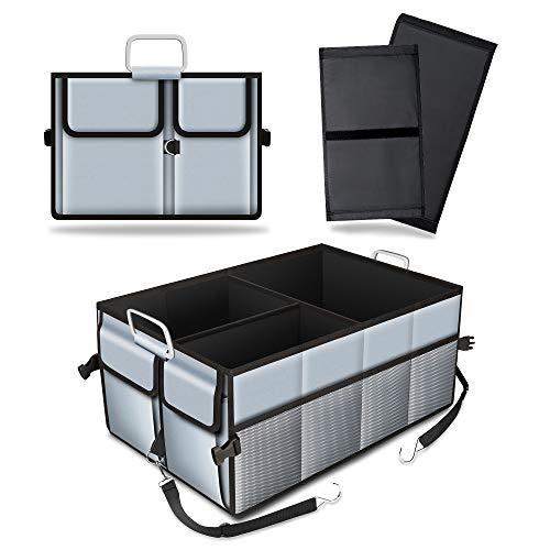 Amumuyx Auto Kofferraumtaschen Faltbar Kofferraumtasche Wasserdicht Faltkorb Organizer für Werkzeuge Spielzeuge mit Befestigungsgurte Multifunktionellem Gepäckgestell 23 x 14.43 x 10.14 inch