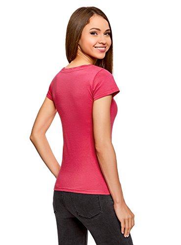 oodji Ultra Damen T-Shirt Basic Aus Baumwolle Rosa (4700N)