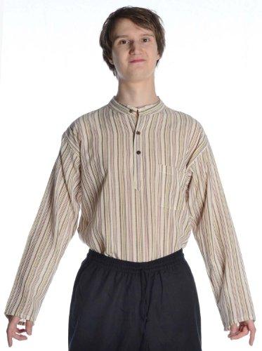HEMAD Herren Hemd Fischerhemd S-XXXL gestreift blau-weiß, beige-braun, türkis, bunt, rot reine Baumwolle (XL, beige-braun) (Weiß Und Gestreiften Rot Herren Hemd)
