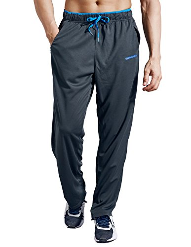 ZENGVEE Men's Sweatpants Open Hem Lightweight Jogging Bottoms Elasticated Waist Athletic Pants Tracksuit Trousers with Zipper Pockets for Workout,Gym,Jogging,Running,Training