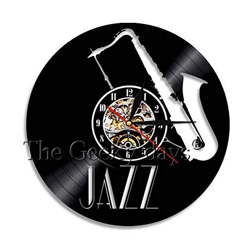 YLNEW Saxophon Musikinstrument Wandkunst Wanduhr Jazz Schallplatte Wanduhr Retro Rock N Roll Musikliebhaber Uhr Saxophon Geschenk